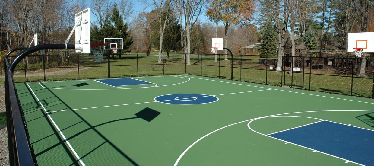 Services pro line fence for Cost to build basketball court